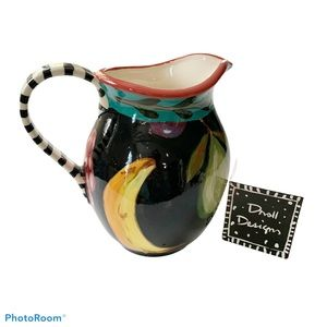 Droll Design signed hand painted 2003 pitcher USA